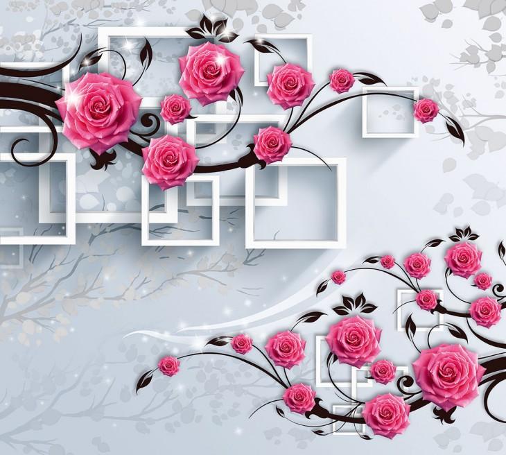Фотообои «Розовая ветвь 3Д»